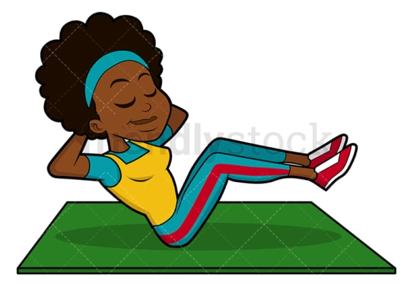 Black woman exercising her abs. PNG - JPG and vector EPS file formats (infinitely scalable). Image isolated on transparent background.