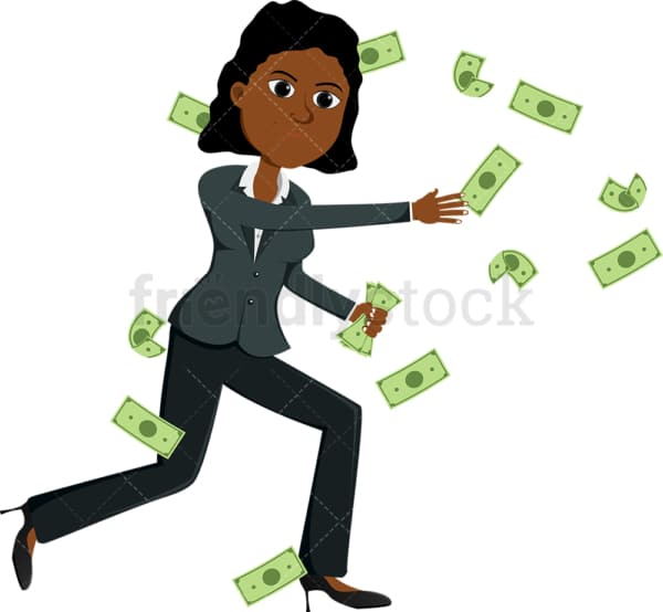 Black woman trying to catch money bills swirling around. PNG - JPG and vector EPS file formats (infinitely scalable). Image isolated on transparent background.