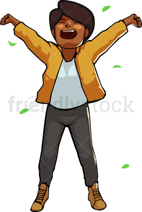 Black woman waking up after sleeping outdoors. PNG - JPG and vector EPS file formats (infinitely scalable). Image isolated on transparent background.