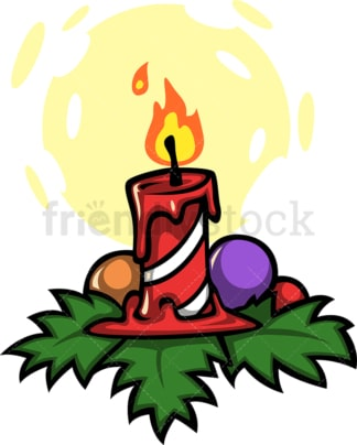 Burning christmas candle. PNG - JPG and vector EPS file formats (infinitely scalable). Image isolated on transparent background.
