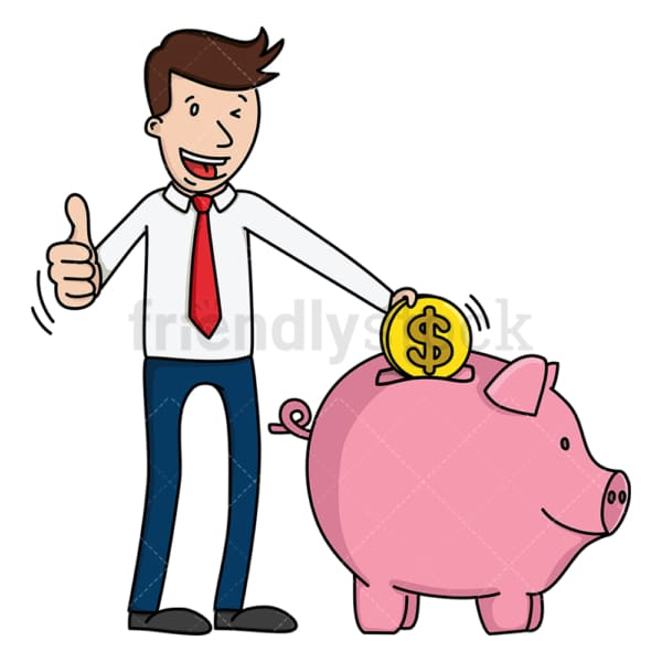 Business man saving money in piggy bank. PNG - JPG and vector EPS (infinitely scalable).