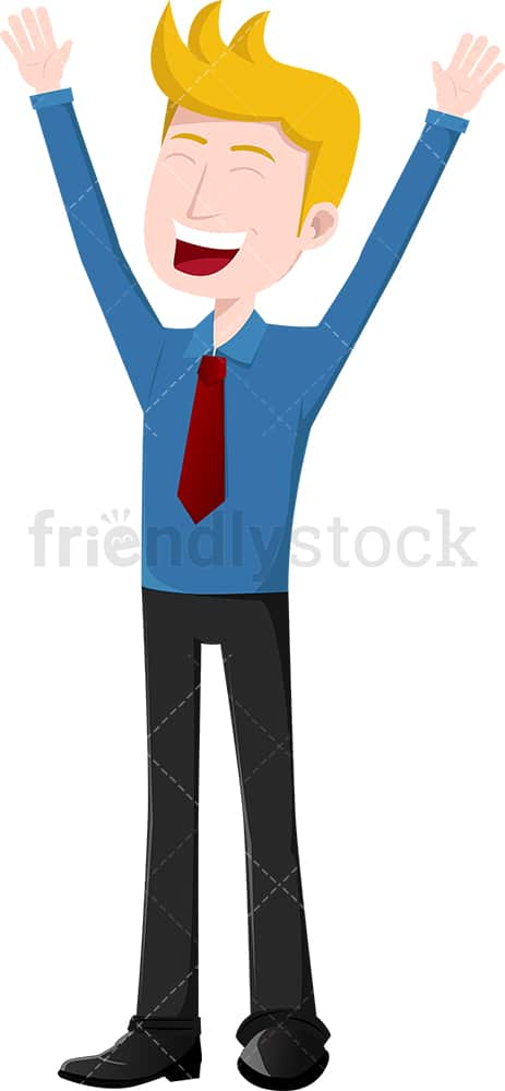 Businessman cheering like a winner. PNG - JPG and vector EPS file formats (infinitely scalable). Image isolated on transparent background.