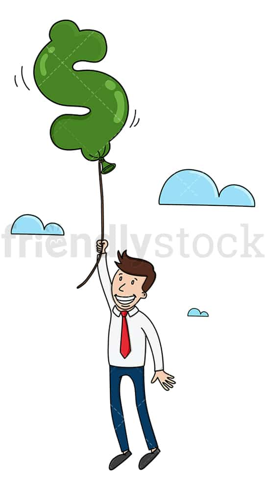 Businessman flying with dollar balloon. PNG - JPG and vector EPS (infinitely scalable).