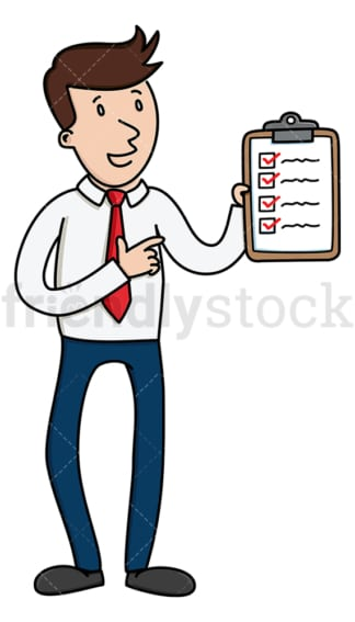 Talking businessman holding checklist. PNG - JPG and vector EPS (infinitely scalable).