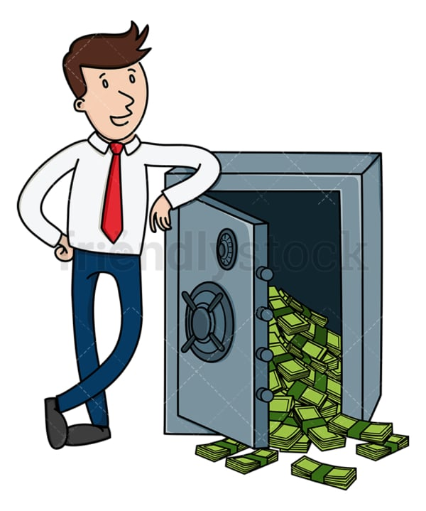 Businessman leaning on safe full of money. PNG - JPG and vector EPS (infinitely scalable).