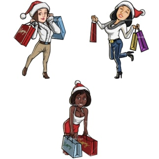Cartoon women christmas shopping bundle. PNG - JPG and vector EPS file formats (infinitely scalable). Image isolated on transparent background.