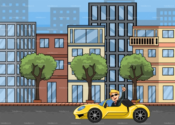 Cocky businessman driving sports car in the city. PNG - JPG and vector EPS file formats (infinitely scalable). Image isolated on transparent background.