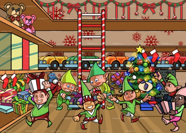 Elves making toys at santa's workshop. PNG - JPG and vector EPS file formats (infinitely scalable). Image isolated on transparent background.