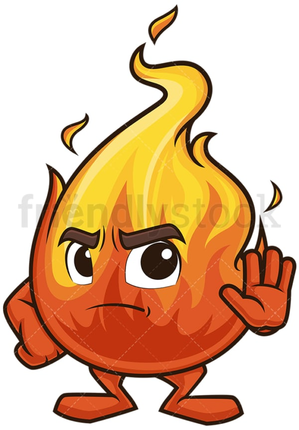 Flame mascot stop sign. PNG - JPG and vector EPS (infinitely scalable).