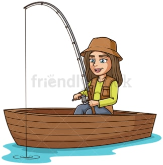 Girl in a boat fishing. PNG - JPG and vector EPS (infinitely scalable).