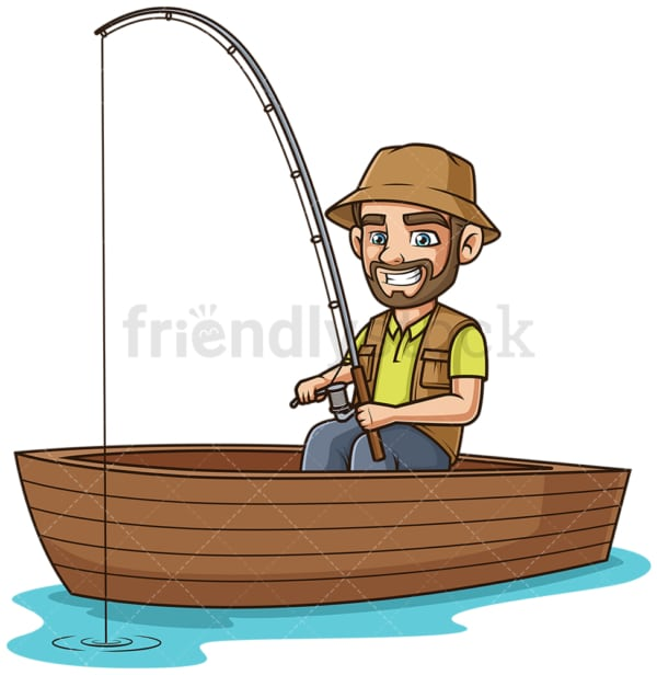Guy on a boat fishing. PNG - JPG and vector EPS (infinitely scalable).