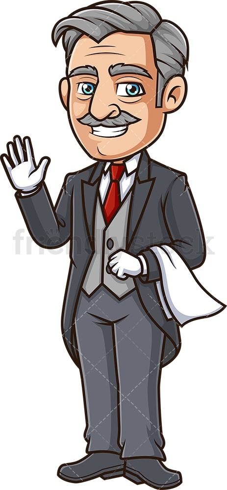 Happy butler waving. PNG - JPG and vector EPS (infinitely scalable).