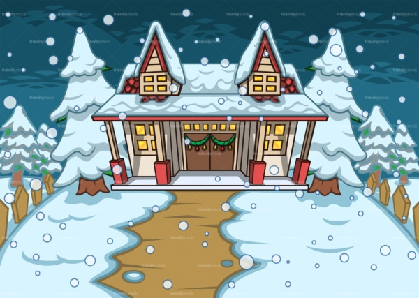 House with yard covered in snow background. PNG - JPG and vector EPS file formats (infinitely scalable). Image isolated on transparent background.