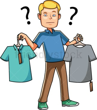 Man choosing between two t-shirts. PNG - JPG and vector EPS file formats (infinitely scalable). Image isolated on transparent background.