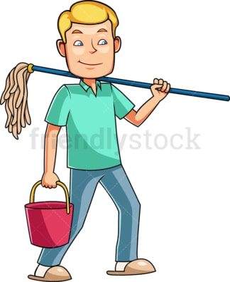 Man getting ready to mop. PNG - JPG and vector EPS file formats (infinitely scalable). Image isolated on transparent background.