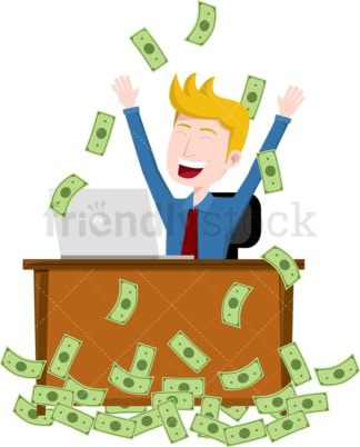 Man having moment at work as money rain down on him. PNG - JPG and vector EPS file formats (infinitely scalable). Image isolated on transparent background.