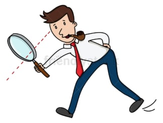 Man looking through magnifying glass. PNG - JPG and vector EPS (infinitely scalable).
