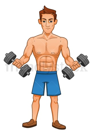 Muscular man doing bicep curls with dumbbells. PNG - JPG and vector EPS (infinitely scalable).