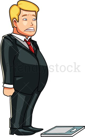 Overweight man fearfully eyeing a scale. PNG - JPG and vector EPS file formats (infinitely scalable). Image isolated on transparent background.