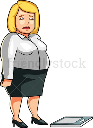 Overweight woman near weight scale. PNG - JPG and vector EPS file formats (infinitely scalable). Image isolated on transparent background.