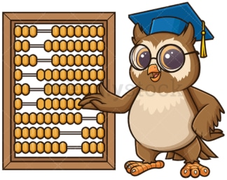 Owl teacher teaching with abacus. PNG - JPG and vector EPS (infinitely scalable).