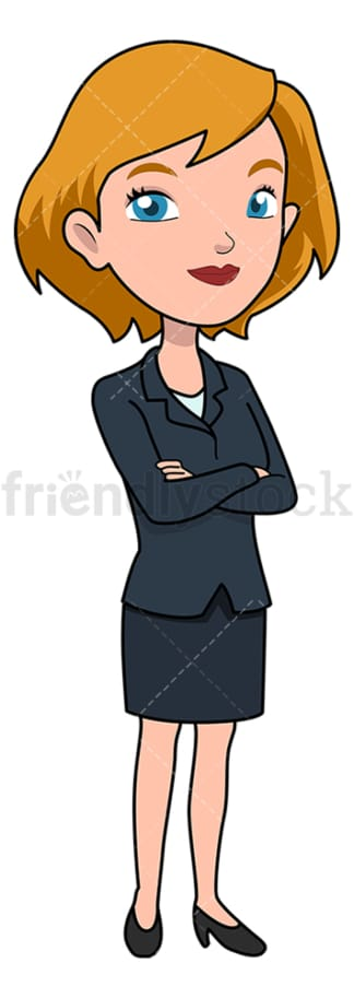 Poised businesswoman crossing her arms. PNG - JPG and vector EPS file formats (infinitely scalable). Image isolated on transparent background.