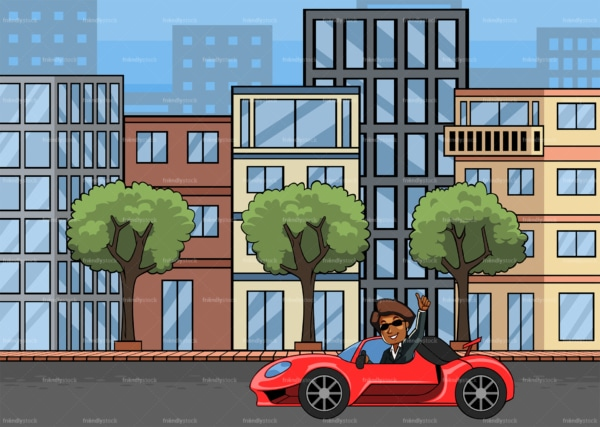 Rich black woman driving sports car in the city. PNG - JPG and vector EPS file formats (infinitely scalable). Image isolated on transparent background.