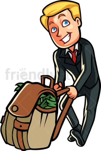 Rich businessman pulling bag full of cash. PNG - JPG and vector EPS file formats (infinitely scalable). Image isolated on transparent background.
