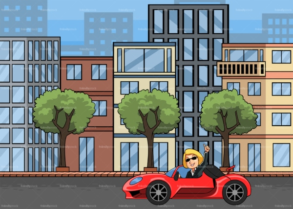 Rich woman driving sports car in the city. PNG - JPG and vector EPS file formats (infinitely scalable). Image isolated on transparent background.