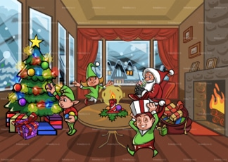 Santa claus and elves in living room. PNG - JPG and vector EPS file formats (infinitely scalable). Image isolated on transparent background.
