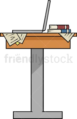 Standing workstation desk. PNG - JPG and vector EPS file formats (infinitely scalable). Image isolated on transparent background.