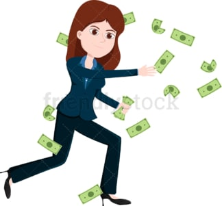 Woman attempting to catch money bills flying around. PNG - JPG and vector EPS file formats (infinitely scalable). Image isolated on transparent background.