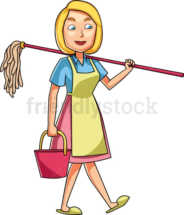 Woman carrying mop and bucket. PNG - JPG and vector EPS file formats (infinitely scalable). Image isolated on transparent background.