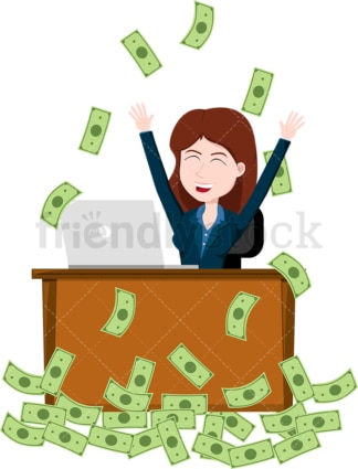 Woman celebrating at work while money rain down on her. PNG - JPG and vector EPS file formats (infinitely scalable). Image isolated on transparent background.