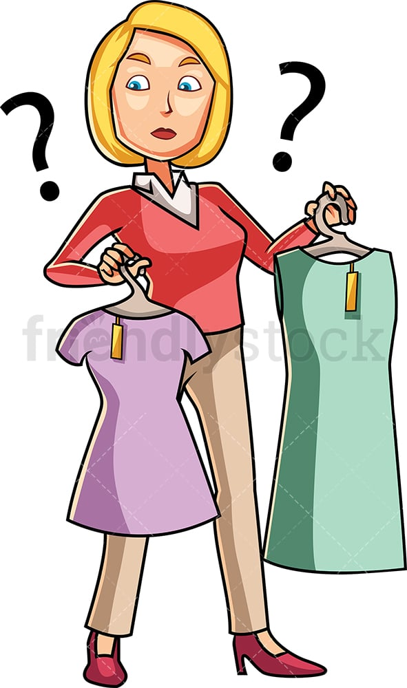 Woman choosing between shirt and dress. PNG - JPG and vector EPS file formats (infinitely scalable). Image isolated on transparent background.