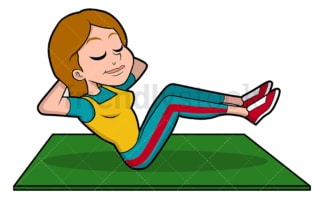 Woman exercising her abs. PNG - JPG and vector EPS file formats (infinitely scalable). Image isolated on transparent background.
