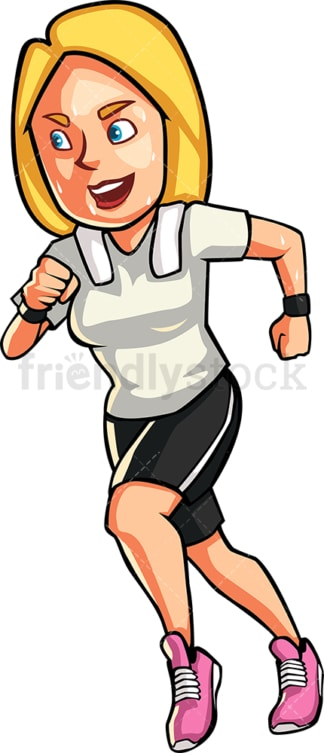 A blonde womAn jogging. PNG - JPG and vector EPS file formats (infinitely scalable). Image isolated on transparent background.