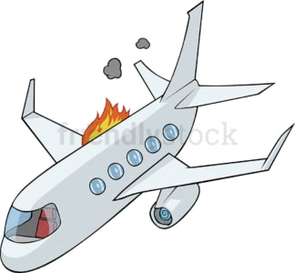 Airplane going down with engine on fire. PNG - JPG and vector EPS file formats (infinitely scalable). Image isolated on transparent background.