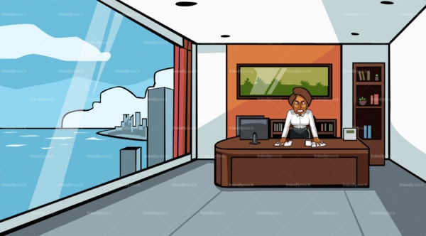 Angry business woman behind desk at the office. PNG - JPG and vector EPS file formats (infinitely scalable). Image isolated on transparent background.