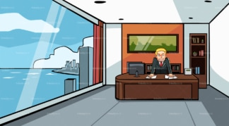 Angry businessman at the office behind desk. PNG - JPG and vector EPS file formats (infinitely scalable). Image isolated on transparent background.