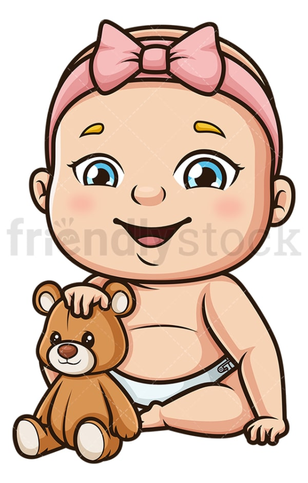 Baby girl playing with teddy bear. PNG - JPG and vector EPS (infinitely scalable).