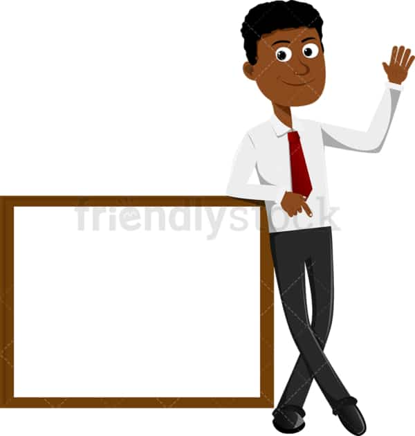 Black businessman leaning against a blank whiteboard. PNG - JPG and vector EPS file formats (infinitely scalable). Image isolated on transparent background.