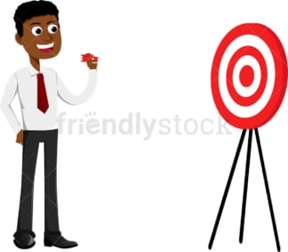 Black businessman ready to throw dart at the target. PNG - JPG and vector EPS file formats (infinitely scalable). Image isolated on transparent background.