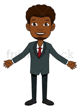 Black businessman with open arms. PNG - JPG and vector EPS file formats (infinitely scalable). Image isolated on transparent background.