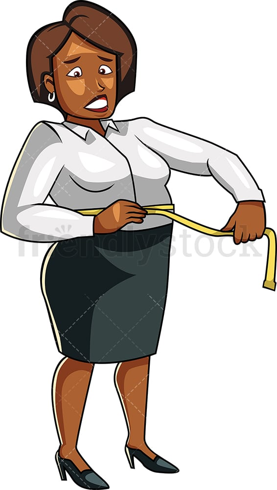 Black fat woman measuring her waist. PNG - JPG and vector EPS file formats (infinitely scalable). Image isolated on transparent background.