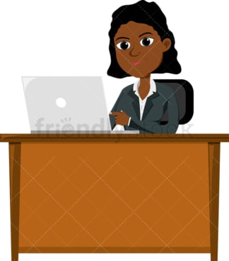 Black female professional using laptop at work. PNG - JPG and vector EPS file formats (infinitely scalable). Image isolated on transparent background.