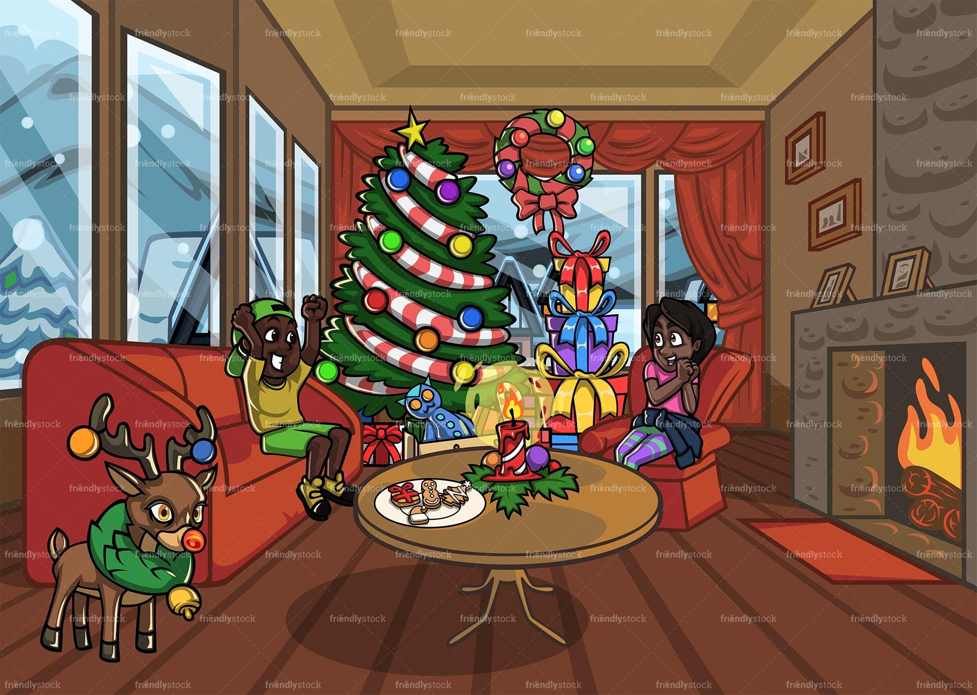Black Kids Enjoying Christmas In Living Room Cartoon Scene ...