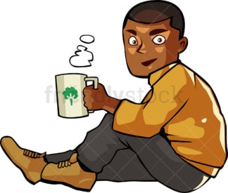 Black man drinking hot coffee while seated. PNG - JPG and vector EPS file formats (infinitely scalable). Image isolated on transparent background.