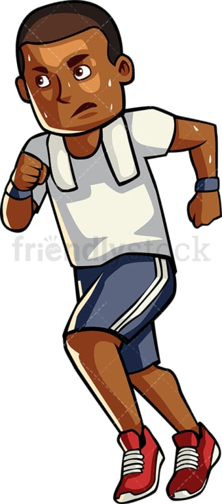 Black man jogging. PNG - JPG and vector EPS file formats (infinitely scalable). Image isolated on transparent background.