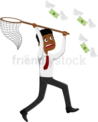 Black man running after flying money. PNG - JPG and vector EPS file formats (infinitely scalable). Image isolated on transparent background.